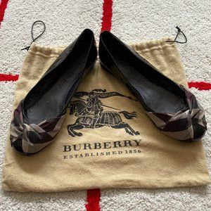 Burberry Patent Leather Check Bow Ballet Flats